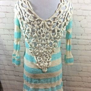 Vanilla Bay Crochet Back Stripe Sweater Size Small